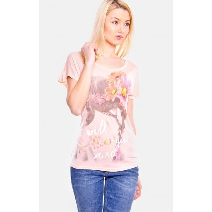 Футболка Only артикул ON 15096514 Peach Melba Print I WILL