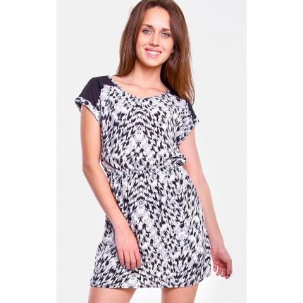Платье Only артикул ON 15095913 Cloud Dancer Vivid Black cо скидкой