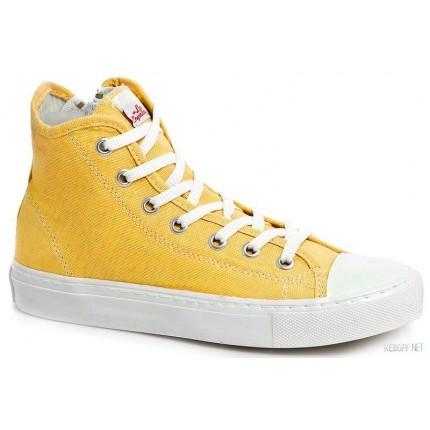 Женские кеды Las Espadrillas 4850-9162 Желтый хлопок модель KDF-4850-9162 купить cо скидкой