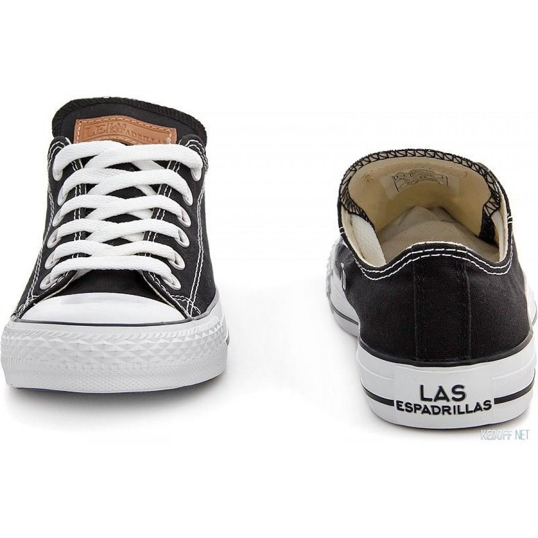 2c584529 ... Черные полукеды Las Espadrillas Black Classic Low Le38-9166 Две пары  шнурков артикул KDF- ...