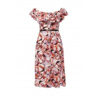 Платье ERIN SWALLOW PRINT DRESS WITH SKINNY BELT LOST INK