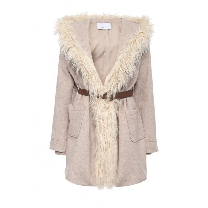 Пальто FUR TRIM LARGE HOODED BELTED COAT LOST INK модель LO019EWJOT99