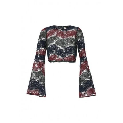 Блуза LACE CROP TOP WITH FLARE SLEEVE LOST INK артикул LO019EWJOU45 cо скидкой