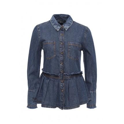 Рубашка джинсовая DENIM RAW EDGE PEPLUM SHIRT LOST INK артикул LO019EWJOU59 распродажа