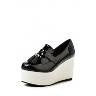 Туфли CHUNK TASSLE FLATFORM BLACK & WHITE LOST INK
